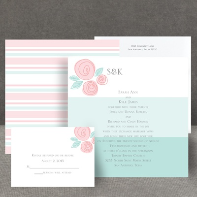 Romantic Posies - Aqua - Invitation