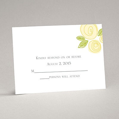 Romantic Posies - Canary - Response Card and Envelope