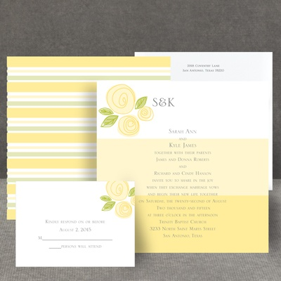 Romantic Posies - Canary - Invitation