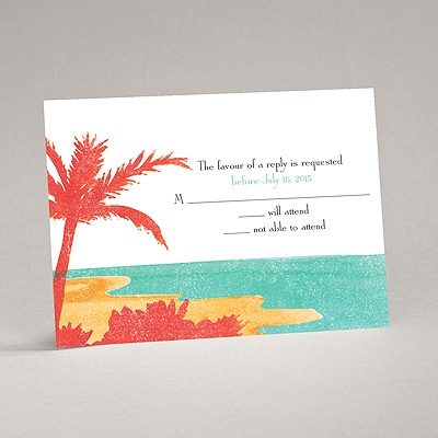 Palm Tree Pair - Response Card and Envelope