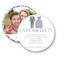 Patterned Tux and Dress - Save the Date Card