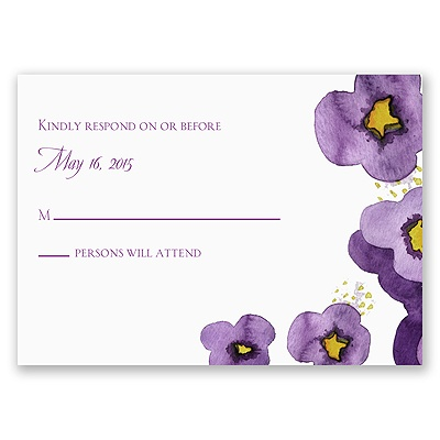 Watercolor Pansies - Response Card and Envelope