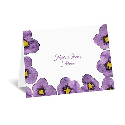 Watercolor Pansies - Note Card and Envelope