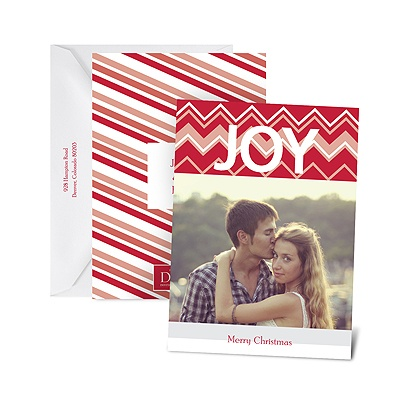 Chevron Joy - Petite Photo Holiday Card