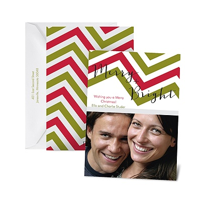 Cheery Chevron - Photo Holiday Card