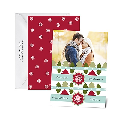 Cozy Pattern - Barn Red - Photo Holiday Card