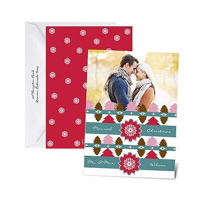 Cozy Pattern - Cherry - Photo Holiday Card