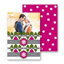 Cozy Pattern - Raspberry - Photo Holiday Card