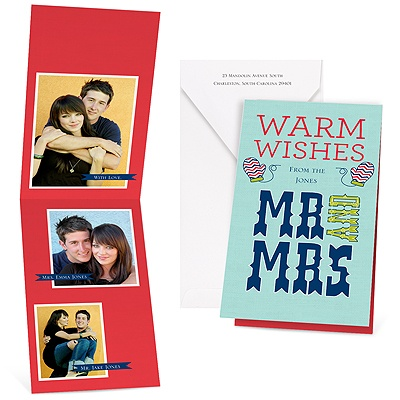 Warm Wishes - Aqua - Photo Holiday Card