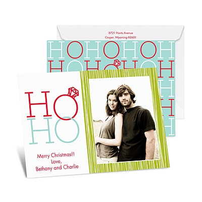 Ho Ho - Aqua - Photo Holiday Card