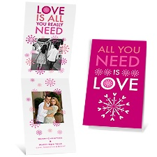 All You Need - Raspberry - Photo Holiday Card