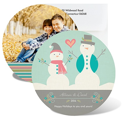 Happy Snowmen - Photo Holiday Card