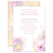 Watercolor Peacock - Champagne - Invitation