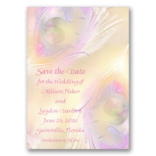 Watercolor Peacock - Champagne - Save the Date Magnet