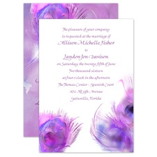 Watercolor Peacock - Grapevine - Invitation