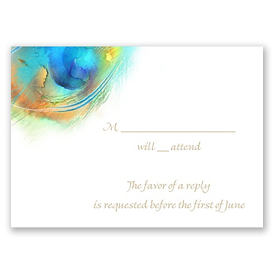 Watercolor Peacock - Palm - Response Card and Envelope