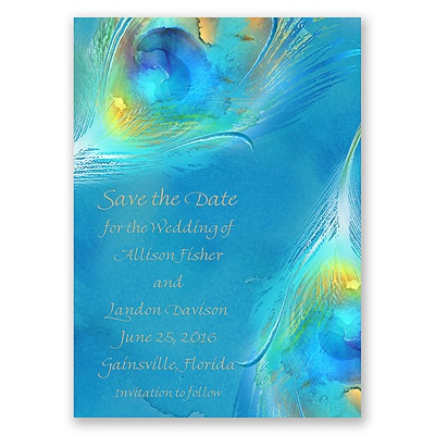 Watercolor Peacock - Palm - Save the Date Magnet