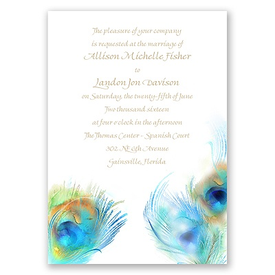Watercolor Peacock - Palm - Invitation