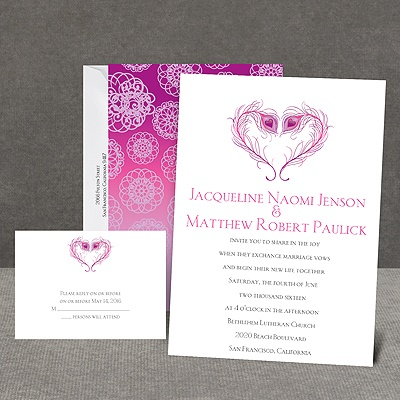 Peacock Love - Amethyst - Invitation