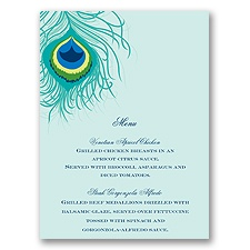 Peacock Close-Up - Aqua - Menu Card