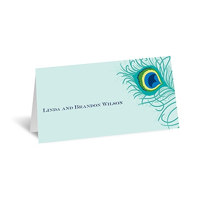 Peacock Close-Up - Aqua - Place Card