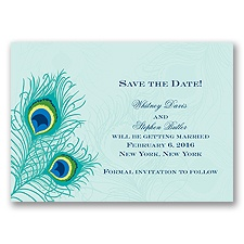 Peacock Close-Up - Aqua - Save the Date Magnet