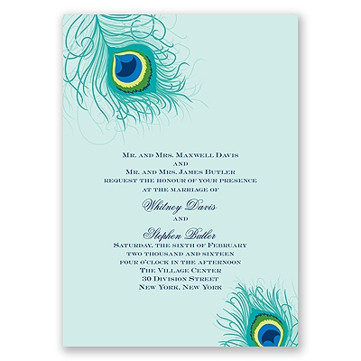 Peacock Close-Up - Aqua - Invitation
