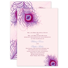Peacock Close-Up - Cotton Candy - Invitation