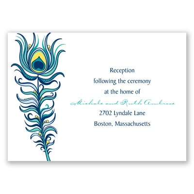 Modern Peacock - Navy - Reception Card