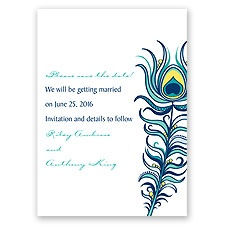 Modern Peacock - Navy - Save the Date Card