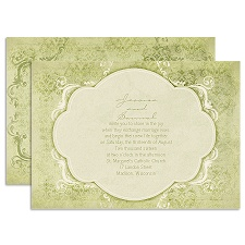 Vintage Flourish - Olive - Invitation