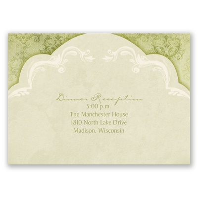 Vintage Flourish - Olive - Reception Card