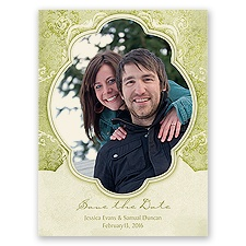Vintage Flourish - Olive - Save the Date Card