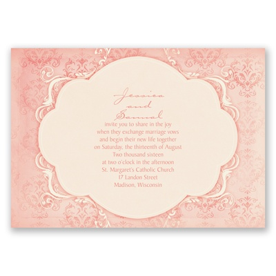 Vintage Flourish - Melon - Invitation