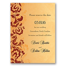 Bold Flourishes - Brick - Save the Date Card