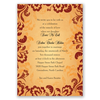 Bold Flourishes - Brick - Invitation