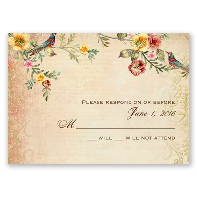 Vintage Birds - Response Card and Envelope