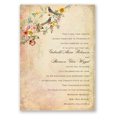 Vintage Birds - Invitation