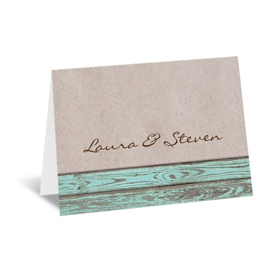 Rustic Frame - Aqua - Note Card and Envelope