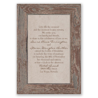 Rustic Frame - Bark - Invitation