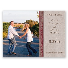 Rustic Frame - Barn Red - Save the Date Card