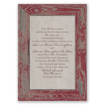 Rustic Frame - Barn Red - Invitation