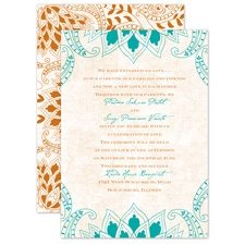 Feathered Flair - Peacock - Invitation