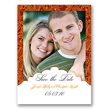 Indian Tradition - Deep Orange - Save the Date Card