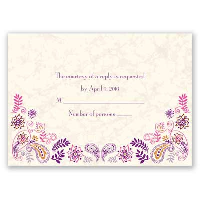 Paisley Floral - Grapevine - Response Card and Envelope