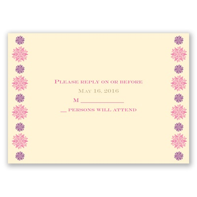 Mehndi Medallion - Amethyst - Response Card and Envelope
