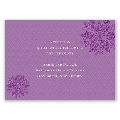 Mehndi Medallion - Amethyst - Reception Card