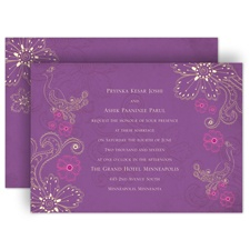 Peacock Floral - Amethyst - Invitation