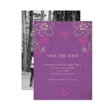 Peacock Floral - Amethyst - Save the Date Card