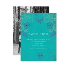 Peacock Floral - Peacock - Save the Date Card
